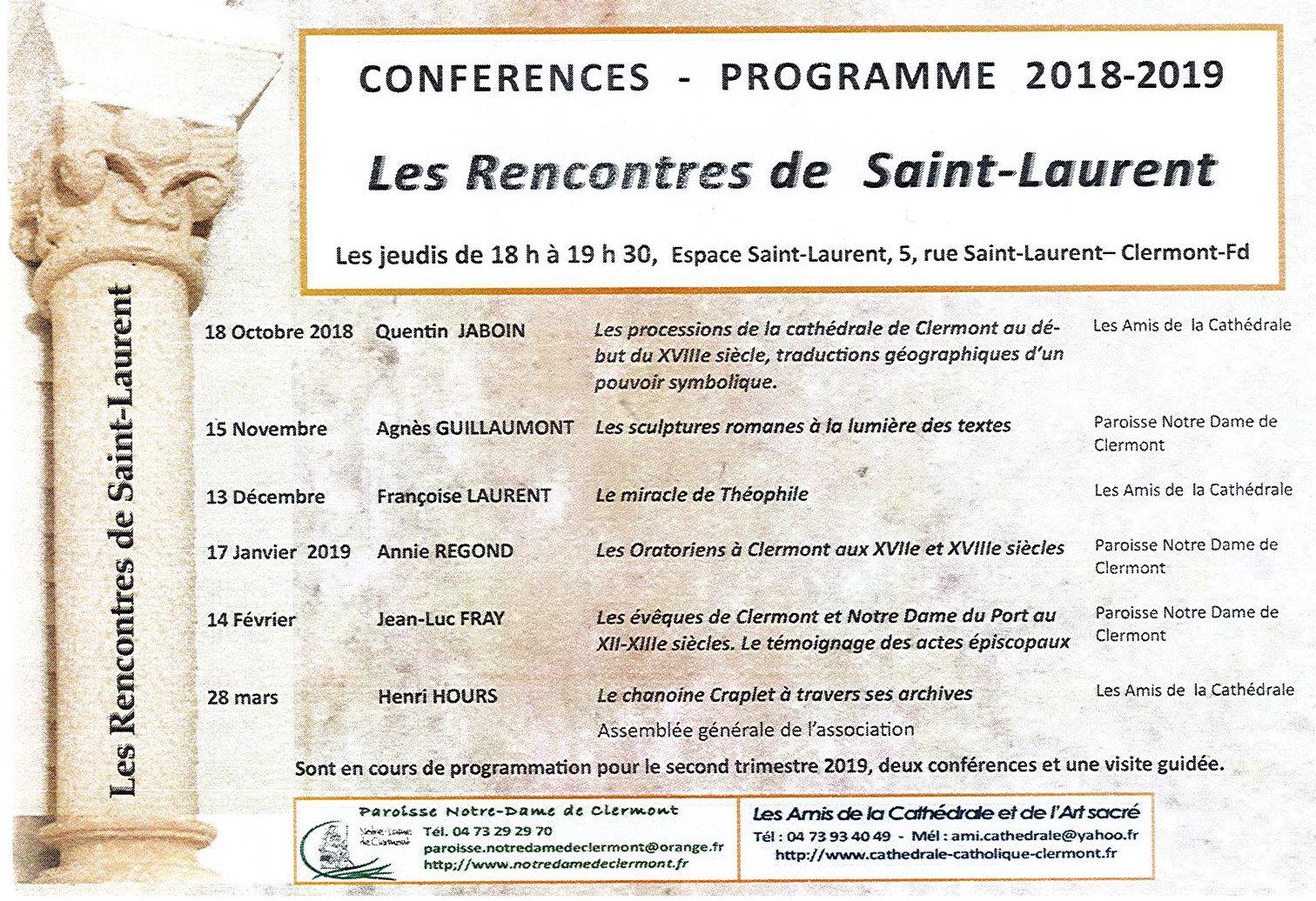 Conférences Rencontres de Saint-Laurent Clermont-Ferrand Auvergne